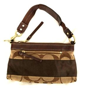 Coach Brown Jacquard and Leather Demi